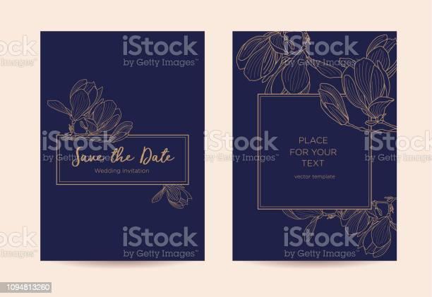 Elegant wedding invitation with magnolia flowers vector id1094813260?b=1&k=6&m=1094813260&s=612x612&h=pgkjn5bljsjjw v t9wl3 f mbpudhmpjiwzc3urcxm=