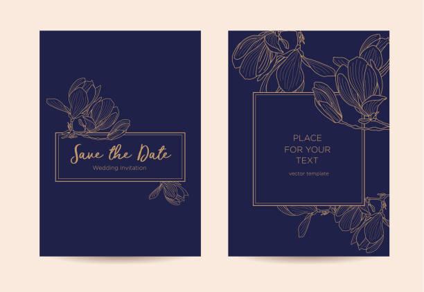ilustraciones, imágenes clip art, dibujos animados e iconos de stock de invitación de boda elegante con flores de magnolia. - diseños de bodas