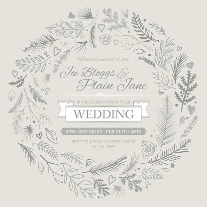 elegant wedding invitation wreath design