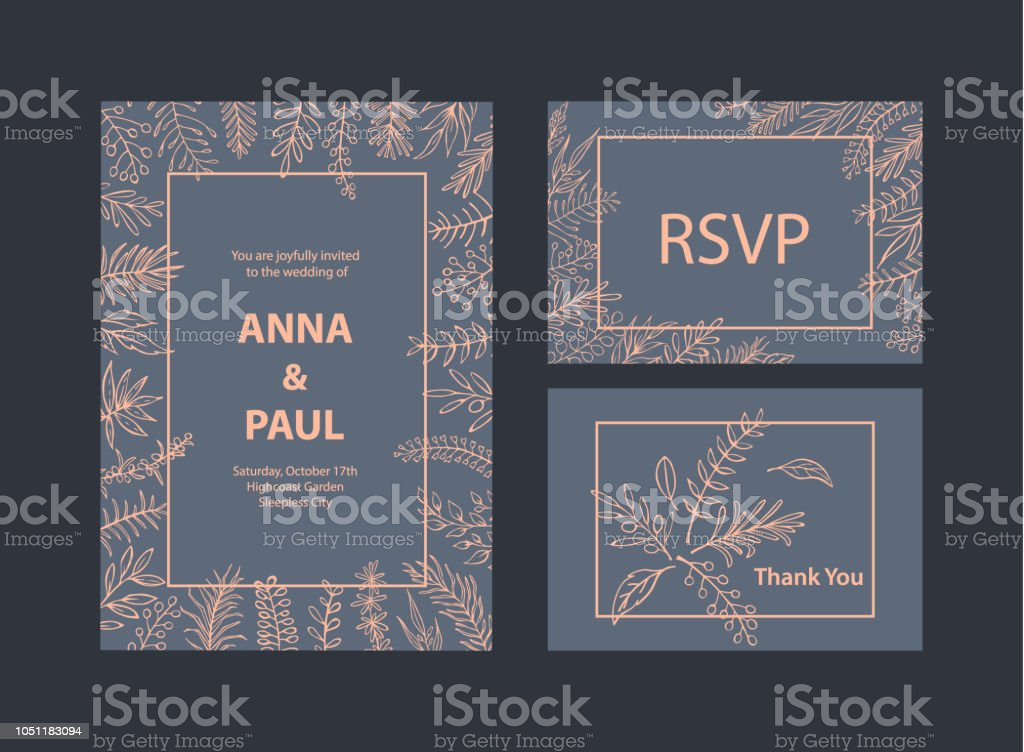 Elegant Wedding Invitations Templates Set With Floral Leaf Branches