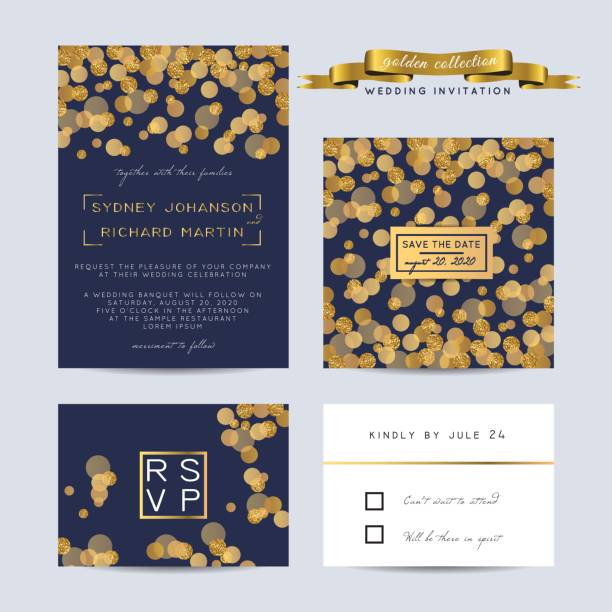 Elegant wedding set with rsvp and save the date cards, decorated with golden glitter. vector art illustration