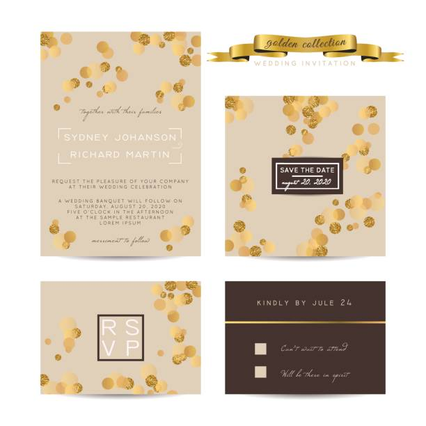 elegant wedding set with rsvp and save the date cards, decorated with golden glitter. - anniversary designs stock illustrations