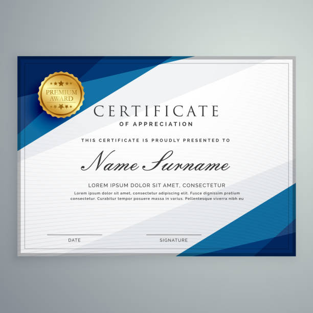 illustrazioni stock, clip art, cartoni animati e icone di tendenza di elegant white and blue certificate diploma template - attestato