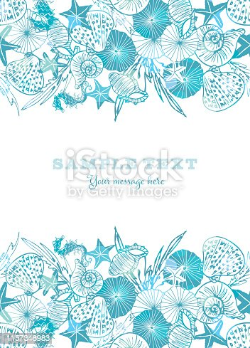 Elegant white and blue vector seahorse, starfish and seashell card or brochure template with shiny bokeh effect. EPS10 file with transparency mode.