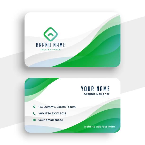 elegante weiße und grüne Visitenkarte Design Vorlage – Vektorgrafik