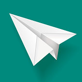 Vector Illustration of a Elegant White Paper Airplane