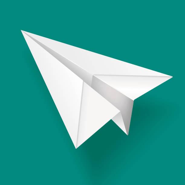 Elegant White Paper Airplane Vector Illustration of a Elegant White Paper Airplane paper airplane stock illustrations