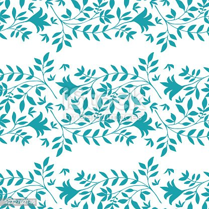 istock Elegant wild meadow grass seamless vector pattern background. Stylized aqua blue leaves in horizontal rows on white backdrop. Geometric damask style design. Botanical foliage all over print. 1272762146
