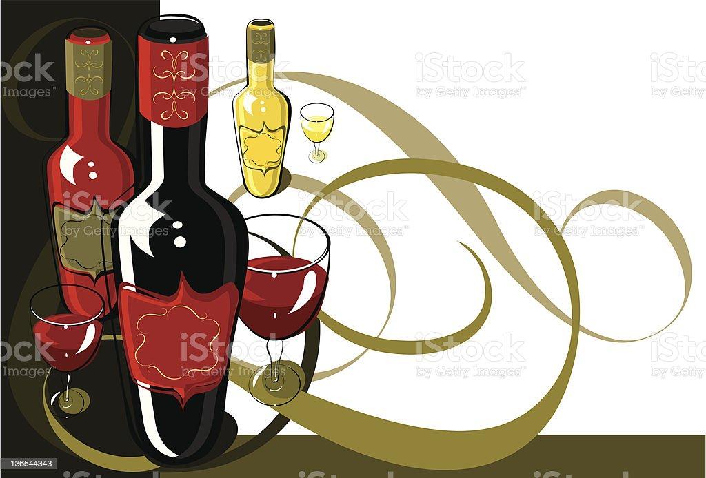 Elegant wine bottles royalty-free stock vector art