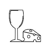 Modern wine icons in elegant black lines.