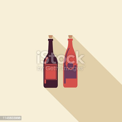 Simple elegant wine icons in flat color design style.