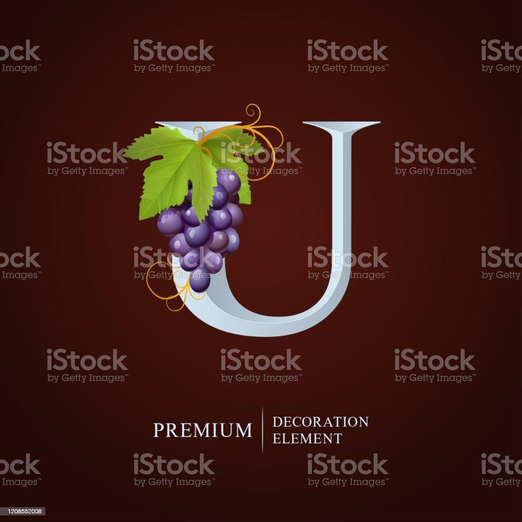 Ilustracion De Logotipo De Vino Elegante Monogram Letter U La Letra Mayuscula Real Esta Rodeada De Uvas Hojas Y Rizos Diseno De Emblema Caligrafico O Identidad Para Vino Menu Restaurante Etiqueta Tarjeta