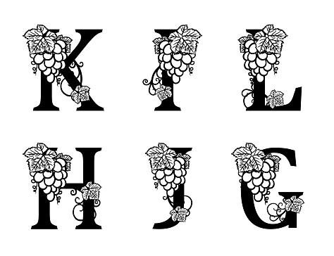 Elegant Wine Logo Monogram Letters K I L H J G
