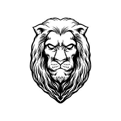 Elegant wise lion head Mascot Silhouette illustrations for your work Logo, mascot merchandise t-shirt, stickers and Label designs, poster, greeting cards advertising business company or brands.