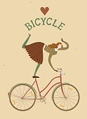 Elegant woman cyclist old style cartoon illustration