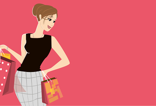 Elegant woman shopping with bags in hands