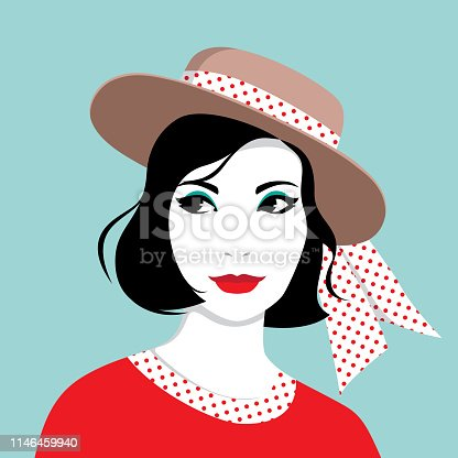 Simple vector portrait of beautiful young elegant woman wearing red dress and hat with dotted ribbon