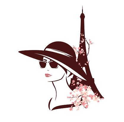 elegant woman wearing sunglasses and hat among flowers and eiffel tower - spring Paris vector portrait