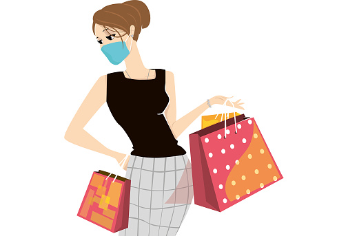 Elegant woman with Covid-19 mask, shopping with bags in her hands