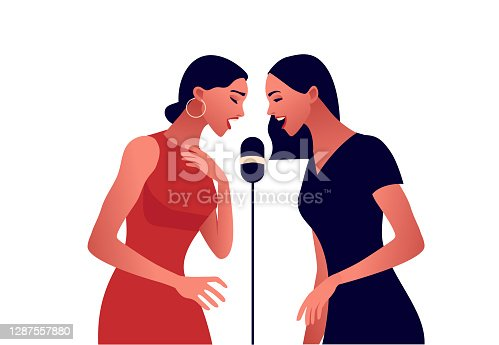 istock Elegant women in red dress singing in microphone 1287557880