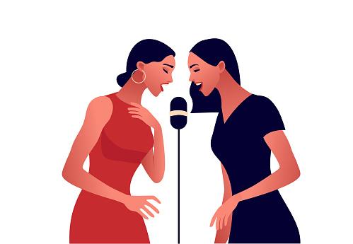 Elegant women in red dress singing in microphone