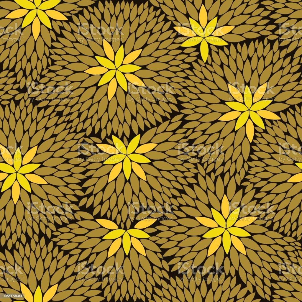 Elegant Yellow Gold Flowers Seamless Pattern Background Wallpaper Texture Banner Label