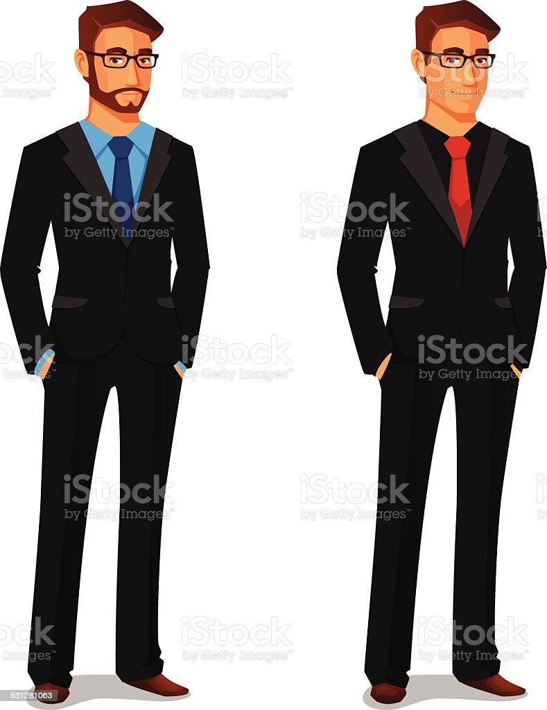 elegant young man in business suit vector art illustration