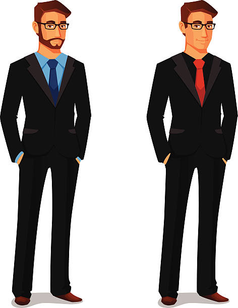 elegant young man in business suit - businessman stock illustrations, clip art, cartoons, & icons