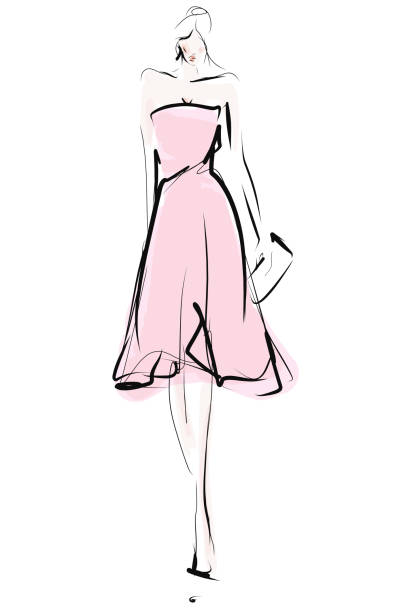 Elegant young woman, model. Female silhouette in dress Fashion sketch fashion design sketches stock illustrations