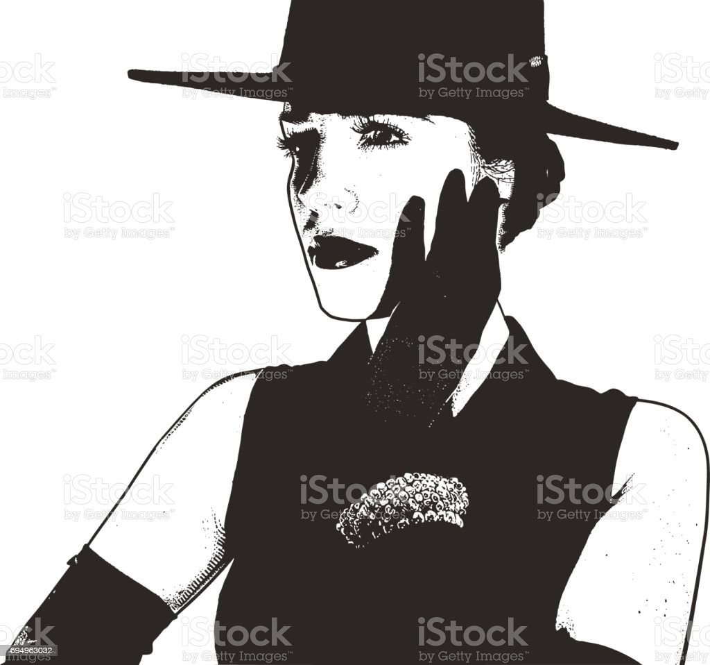 Elegant young woman wearing evening gloves and wide brim hat vector art illustration