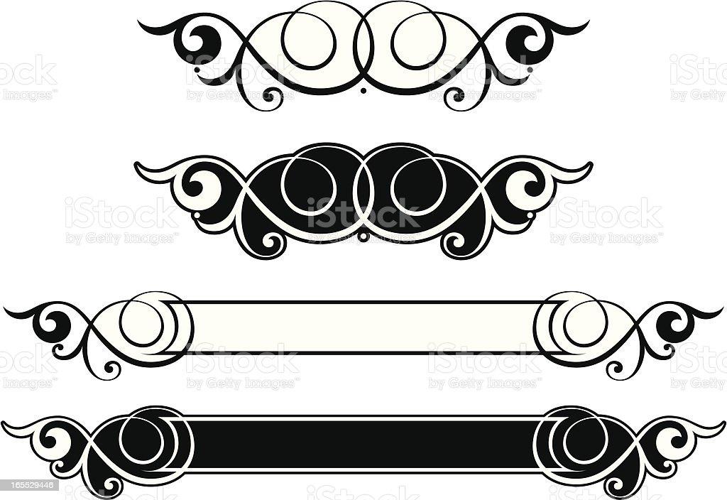 Elegante Panel and Scroll vector art illustration