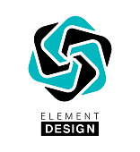 Vector illustration of the element design in blue and black colors