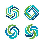 Vector illustration of the element design in blue and green colors