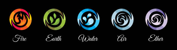 element icons - fire, earth, water, air and ether. - cztery żywioły stock illustrations