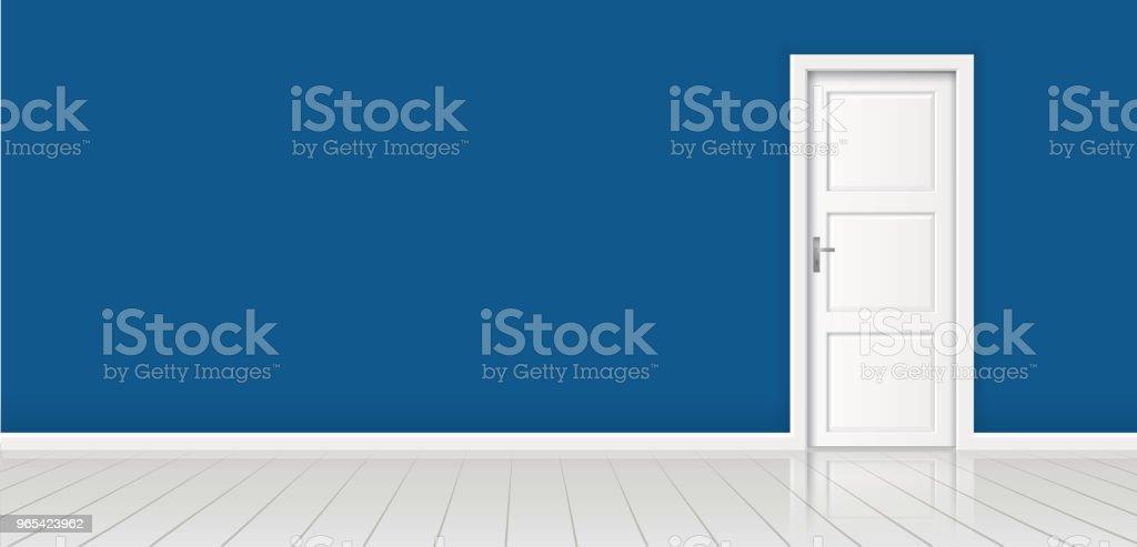 Element of architecture - vector background blue wall and closed white door element of architecture vector background blue wall and closed white door - stockowe grafiki wektorowe i więcej obrazów architektura royalty-free