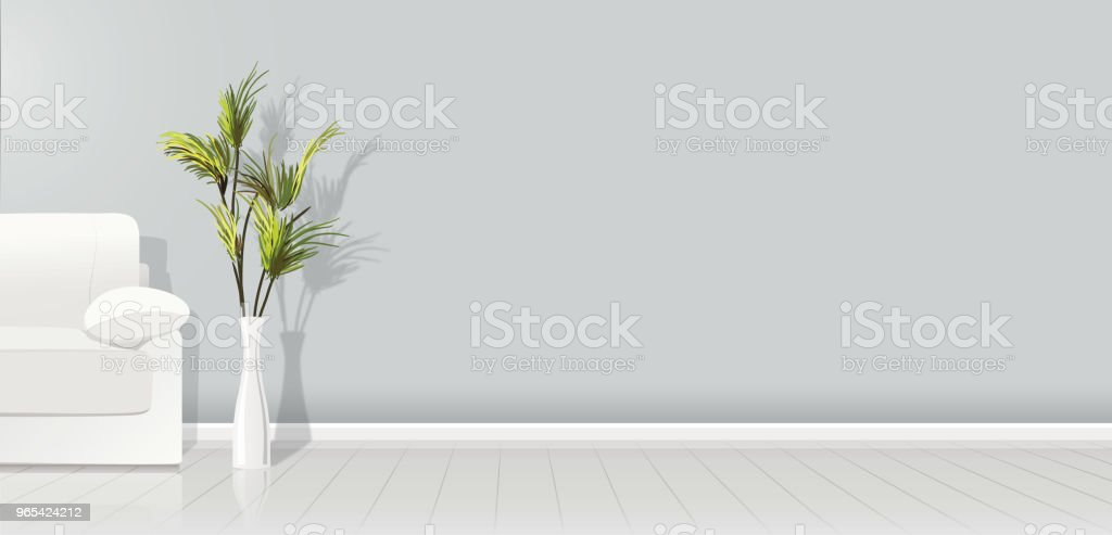 Element of architecture - vector background grey empty wall width white sofa and plant - vector illustration royalty-free element of architecture vector background grey empty wall width white sofa and plant vector illustration stock vector art & more images of apartment