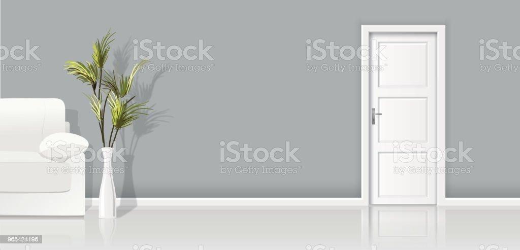 建築學元素-媒介背景灰色牆壁、沙發和閉合的白色門 - 免版稅乾淨圖庫向量圖形
