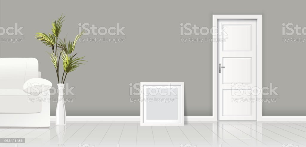 Element of architecture - vector background grey wall width closed white door and frame for picture element of architecture vector background grey wall width closed white door and frame for picture - stockowe grafiki wektorowe i więcej obrazów architektura royalty-free