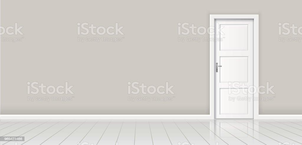 Élément d'architecture - mur de fond de vecteur et porte blanche fermée - clipart vectoriel de Architecture libre de droits