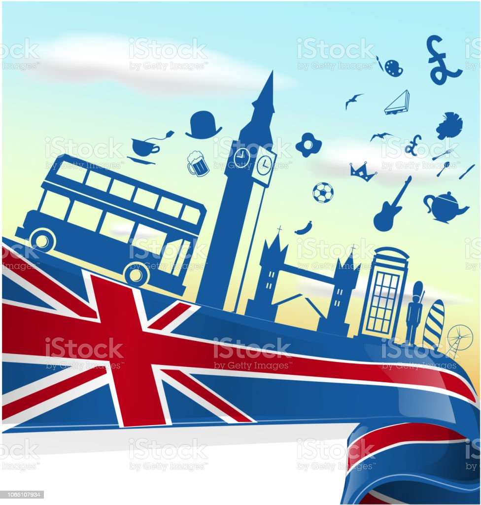 UK LONDON  element on flag with sky background vector art illustration