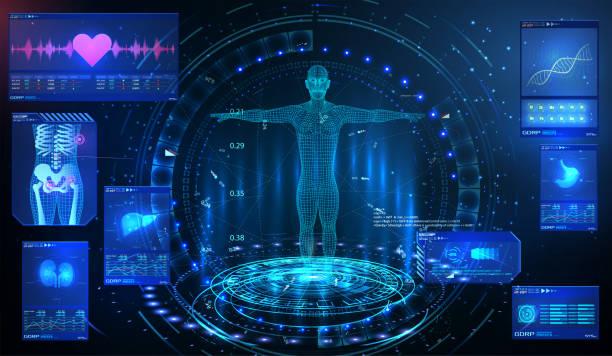 hud ui gui 元素 ui 體檢。顯示一組虛擬介面元素。健康技術。mrt 未來掃描, 人體, 器官掃描腎臟, 肝臟, 心臟, 肺, 胃。 - 健康科技 幅插畫檔、美工圖案、卡通及圖標