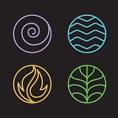 Nature 4 elements circle line sign. Water, Fire, Earth, Air. on dark background.