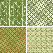 Vector illustration of four different, seamless pattern corresponding to the element wood; using bamboo and rectangular shapes. Wood is one of the five elements (five phases) representing a period of growth, which generates abundant wood and vitality. It refers to the east, spring, the color green and rectangular shapes.