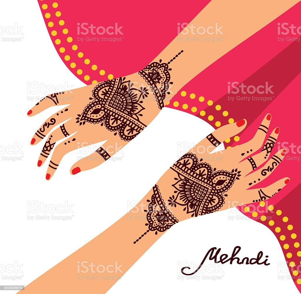 royalty free henna hands clip art vector images illustrations rh istockphoto com Henna Flower Designs Henna Flower Designs