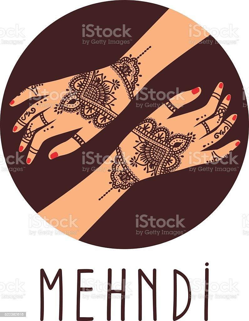 Element yoga mudra hands with mehendi patterns. vector art illustration