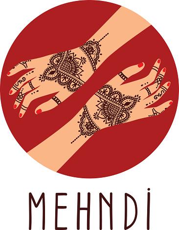 Element yoga mudra hands with mehendi patterns.