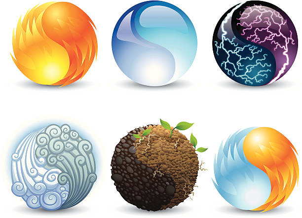 Elemental Harmonies A set of harmony symbols representing earth, fire, wind, water, electricity, and fire/ice. yin yang symbol stock illustrations