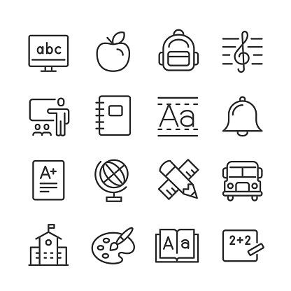 Elementary Education Icons — Monoline Series