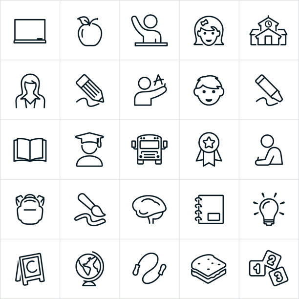 elementary education icons - preschool stock illustrations