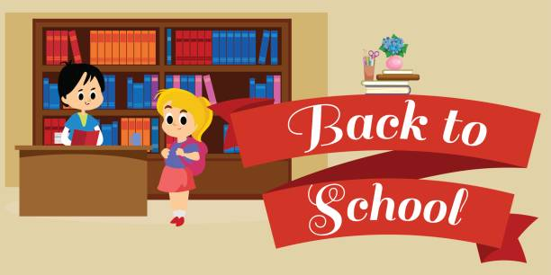 Elementary Education Students In Library With Bookshelf Back To School Lifestyle Concept Literature Lessons Information Research Vector